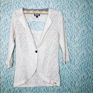 Volcom All-over Floral Lace Open Back Blazer.